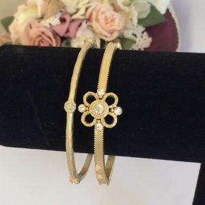 Elegant Gold & Crystal Bangle Bracelets
